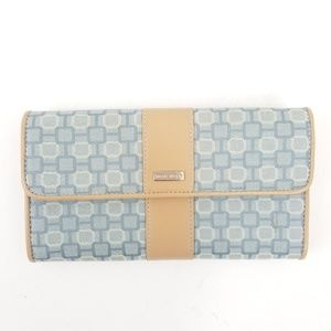 Nine West tri fold flap wallet leather canvas